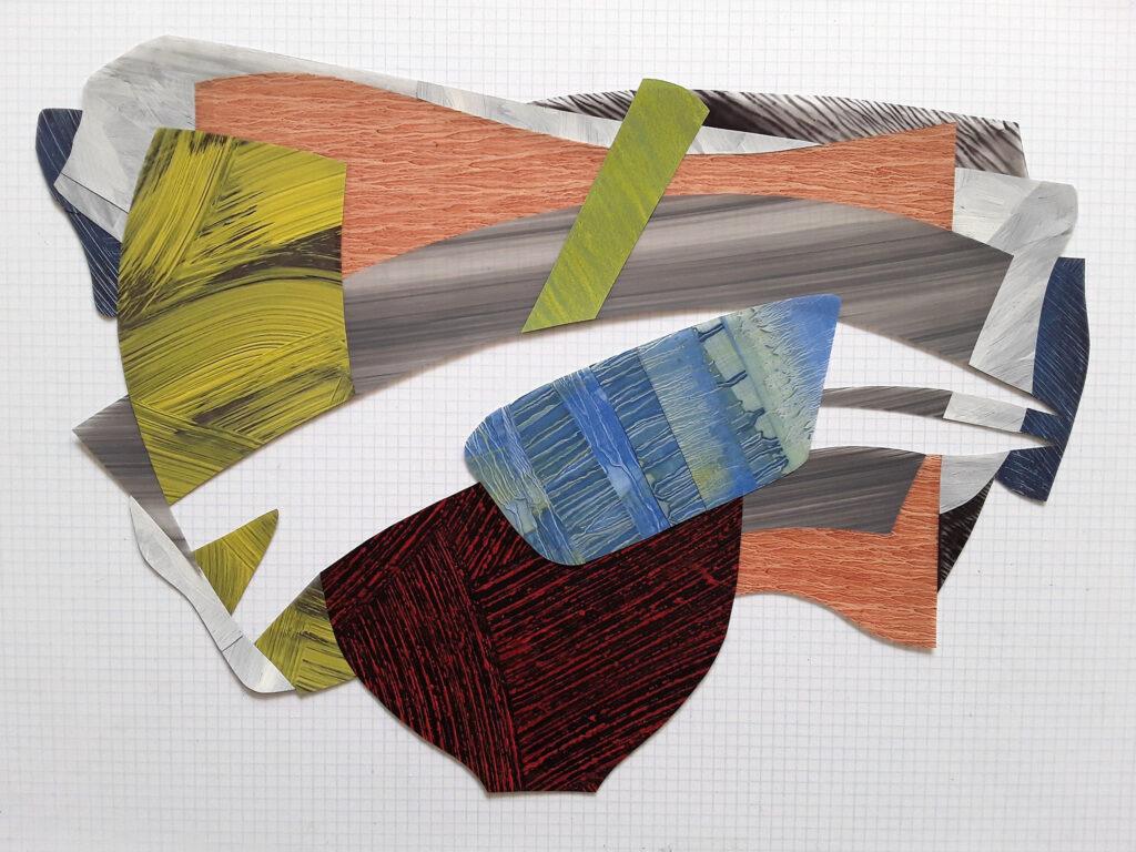 Nanette Carter, Cantilevered #39, 2018, oil on mylar, 15 1⁄2 x 21 3⁄4 in. Courtesy Nanette Carter