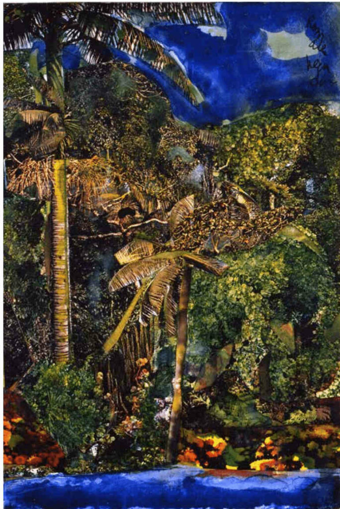 Romare Bearden, Near Three Rivers—Martinique, 1984, collage on fiber board, 11 3⁄4 x 8 in. Artists Rights Society (ARS). Courtesy DC Moore Gallery, New York