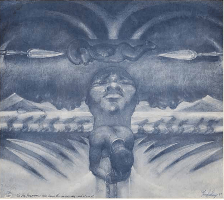 Tom Feelings, Middle Passage Series, 1987, lithograph 128/560, 17 1⁄2 x 19 1⁄2 in. © Tom Feelings. Courtesy Alfred E. Prettyman