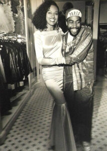 Patrick Kelly with model Pat Tracey - Courtesy of Coreen Simpson photography Collection).