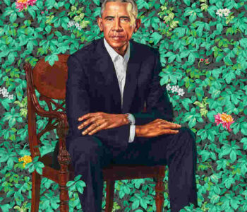 Kehinde Wiley (American, born 1977). Barack Obama, 2018. Oil on canvas, 84 1/18 × 57 7/8 × 1 1/4 in. (213.7 × 147 × 3.2 cm)